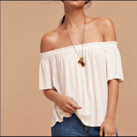 WILFRED Sartre off the shoulder top in Taupe